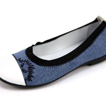 MDIGMS9 Fendi Girls Denim Ballet Flats
