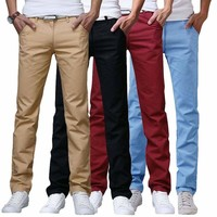 Mens Casual Slim Fit Straight Formal Business Dress Pants Trousers Pencil Pants