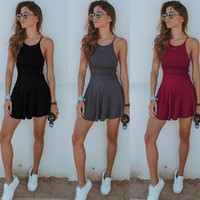 Sleeveless Solid Sundress
