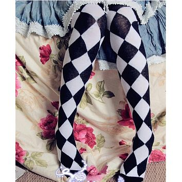Girls Over the Knee Long Plaid Stockings Circus Troup Series Sweet Lolita Stockings