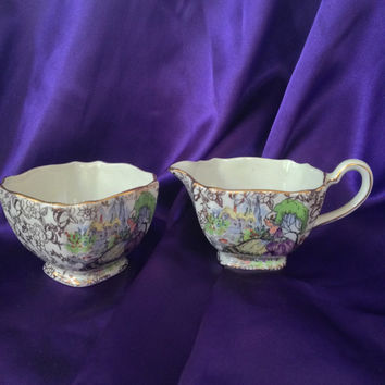 Pompadour BCM Nelson Ware Mini Cream and Open Sugar Set, Gold Chintz, Regency 'Lavender Lady' 1930s Fine China Collectible