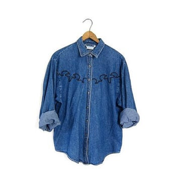 Vintage jean shirt. Slouchy denim shirt. Embroidered. Western grunge boho work shirt. Womens small.