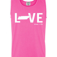 Custom Tennessee Love Comfort Color Tank Top. Show Your state pride and state love. Perfect for the Summer and the Beach