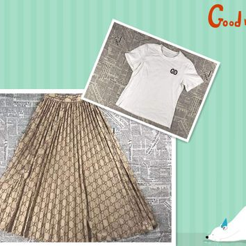 """""""Gucci"""" Woman's Leisure  Fashion Letter Printing Spell Color Short Sleeve Long Skirt  Two-Piece Set Casual Wear"""