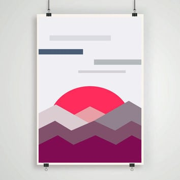 Abstract geometric  retro landscape wall art poster digital a3 print