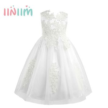 Girls Sleeveless Water-soluble Lace Flower Girl Dress Formal Princess Pageant Wedding Vestido de festa Kids Birthday Party Dress