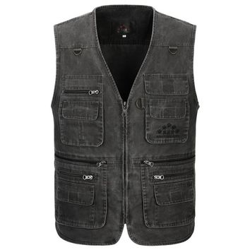 Men's Vest Sleeveless Jacket Military Tactical Jacket Fisherman Clothes Baggy Waistcoat Style Designer Cotton Multi Pocket Vest