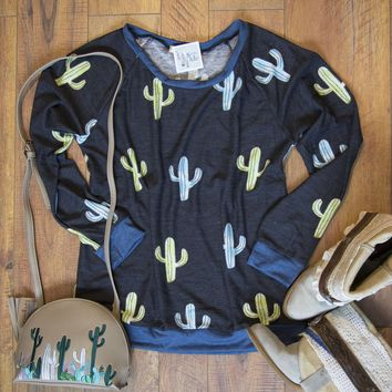 All Over Cactus Print- Sweater in Black