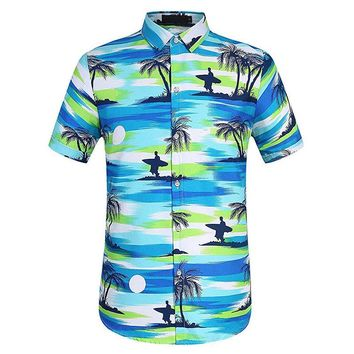 Casual Hawaiian Coconut Tree Printing Shirt
