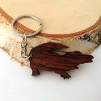 Wooden Crocodile Keychain, Animal Keychain, Alligator Keychain, Walnut Wood, Environmental Friendly Green materials