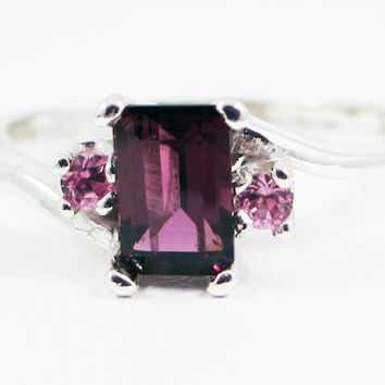 Rhodolite Garnet and Pink Sapphire Accent Ring Sterling Silver, January Birthstone Ring, Rhodolite Garnet Ring, Raspberry Garnet Ring
