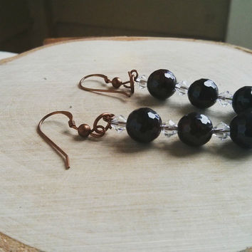 Garnet Earrings Black Gemstone Boho Yoga Jewelry Dangle Drop Healing Crystal Meditation Vegan Organic Sparkly Gem Women Mother Birthday Gift