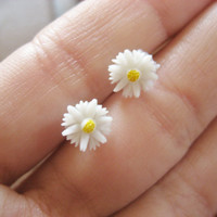 Daisy Stud Earrings Tiny Post Little White Flower Sunflower Sun Flower