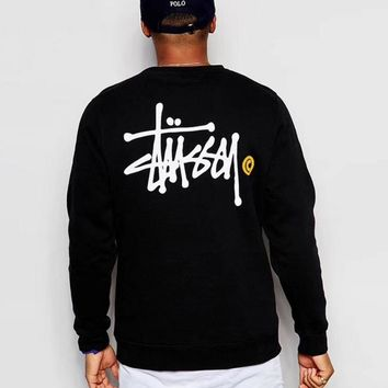 Stussy one sale long sleeve black print man women sweatshirt tops