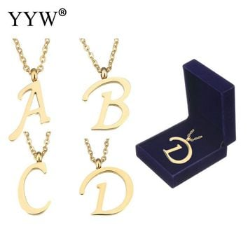 26 Letter Simple Couplpe Stainless Steel Necklace Charm Pendant Necklace  Lover Gift Gold Color Initial Choker with packing box