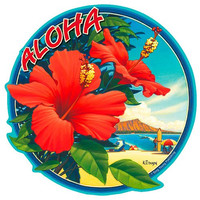Hibiscus - Hawaiian Art Decal - Car Window Bumper Sticker