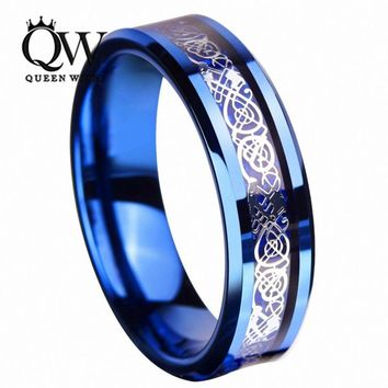Queenwish 6mm Sliver Irish Claddagh Celtic Dragon Blue Tungsten Wedding Bands Eternity Anniversary Rings For Couples Jewelry