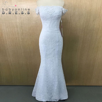 In Stock 100% Real Samples Sexy Off The Shoulder Mermaid Lace Wedding Dresses 2017 Beaded Bridal Gown Robe De Soiree