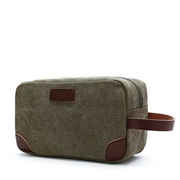 Men's Travel Toiletry Organizer Bag Canvas Shaving Dopp Kit TSA Approved (Army Green-1)