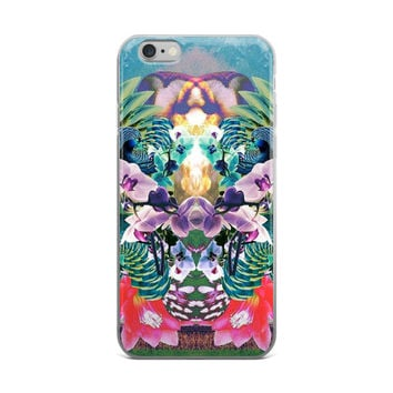 Colourful Flowers Vaporwave Trippy Floral Colorful Blue & Green iPhone 4 4s 5 5s 5C 6 6s 6 Plus 6s Plus 7 & 7 Plus Case