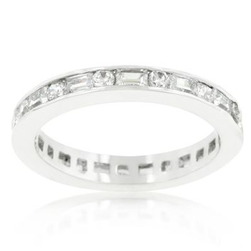 Miral Alternating Baguette Eternity Stackable Ring | 3ct | Cubic Zirconia