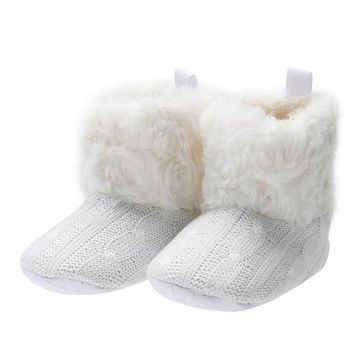 Winter Baby Girls Winter Snow Boots Solid Bow knot Children Shoes Booties Pre-walker Crochet Knit Baby Shoes For Girls Boys