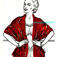 1953 Knitted Effect Crocheted Stole-Crochet Pattern-1950s Housewife-Mad Men-Clothing Pattern-Woman Shawl-VintageCrafts PDF-USA