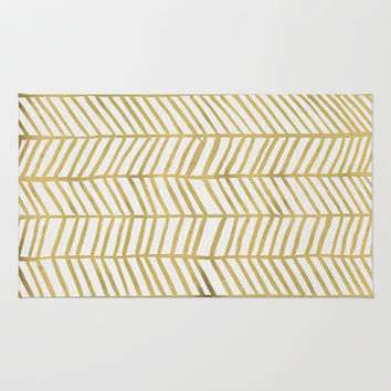 Gold Herringbone Rug by Cat Coquillette