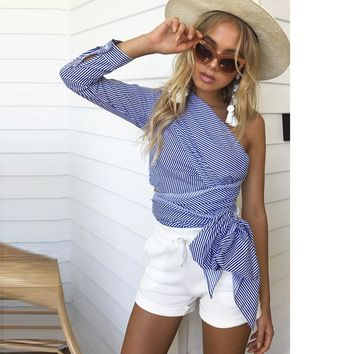 Womens One-Shoulder Top Long-Sleeve Knitted Striped Ribbons Loose Shirts