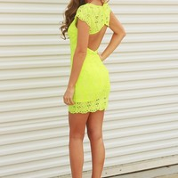 When The Sun Comes Up Dress: Highlighter Yellow