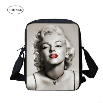 Single Strap 3D Polyester Marilyn Monroe Crossbody Bag