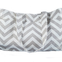Gray Chevron Tote Diaper Bag