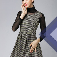 Women : Sleeveless Mini A-line Black and White Pattern Dress YRB0560