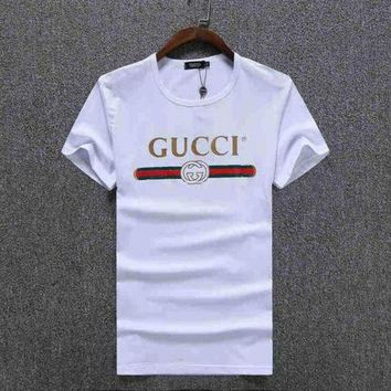 DCCKR2 GUCCI Stylish Women Man Letter Print Sport Short Sleeve Shirt Top Tee White I