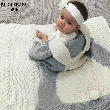 Baby Blanket Pink White Cute Rabbit Gray For Bed Sofa Wool blanket Cobertores Mantas BedSpread Bath Towels Play Mat Gift 73*105