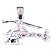 14K WHITE GOLD HELICOPTER CHARM #11294