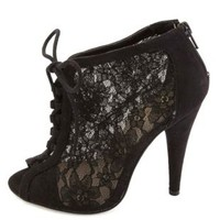 Sheer Lace Lace-Up Peep Toe Booties by Charlotte Russe - Black