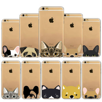 Super Cute Funny Cat Dog Phone Cases for Apple iPhone 4 4S 5 5S SE 5C 6 6S 6Plus 6s Plus + Nice Gift Box !