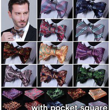 Paisley Flora 100%Silk Jacquard Woven Men Butterfly Self Bow Tie BowTie Pocket Square Handkerchief Hanky Suit Set EFC