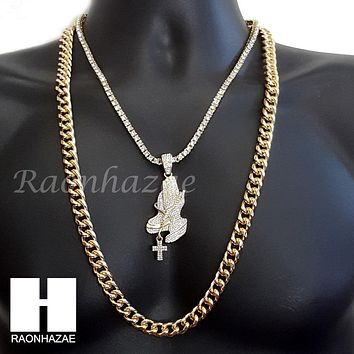 "ICED OUT PRAYING HANDS CHARM 16""-30"" TENNIS CHAIN 30"" CUBAN CHAIN NECKLACE G23"