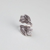 Full Tilt Leaf Wrap Ring Silver  In Sizes