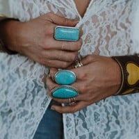 Silver & Turquoise Layering Ring