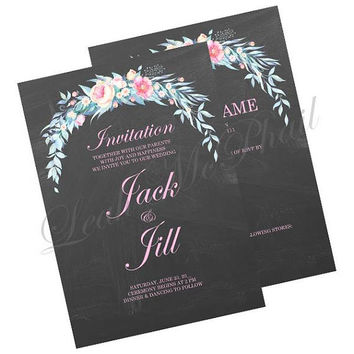 Chalkboard Floral Spray Wedding Invitations/Invitations/Announcements