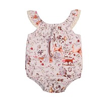 Newborn Baby Girls Clothes Sleeveless Deer Romper Lace edge Jumpsuit Sun-suit Outfits 0-18M