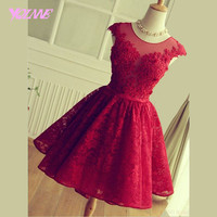 Elegant Light Wine Red Lace Short Homecoming Party Dresses Graduation Dress Lace Up Knee Length