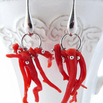 Red coral earrings, Torre del Greco coral jewelry, sterling silver 925 jewels, italian jewellery, Sofia's Bijoux Made in Italy