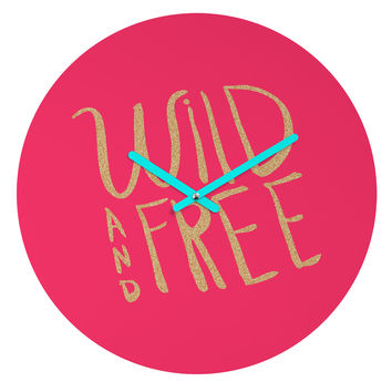 Allyson Johnson Wild and free glitter Round Clock