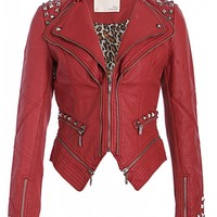 Rocking Cool Red Studded Punk Style PU Faux Leather Slim Fit Moto Jacket