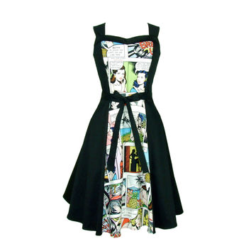 Comic  Full Circle Swing  Vintage Inspired Dress Light White