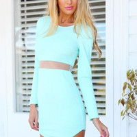 Long Sleeve Mesh Insert Back Zipper Mini Dress